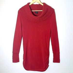 Calvin Klein Red Cowl Neck Tunic Knit Sweater